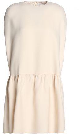 Valentino Gathered Wool And Silk-Blend Mini Dress