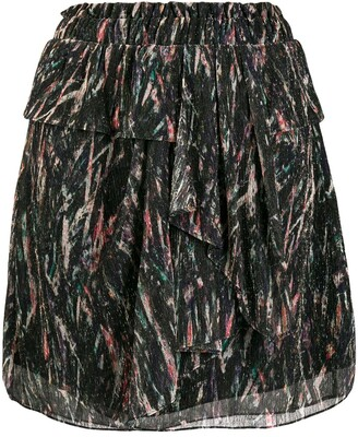 IRO Abstract Print Tiered Skirt