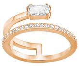 Swarovski Gray Crystal & 18K Rose Gold-Plated Layered Ring