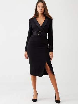 Very Buckled Tuxe Midi Dress - Black