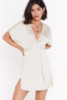 Nasty Gal Womens Call In Slick Satin Mini Dress - White - 4, White