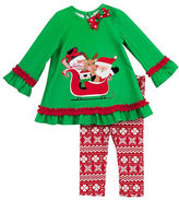 Rare Editions Baby Girls Santa and Friends Top and Patterned Leggings Set