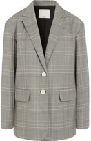 Tibi Jasper Oversized Checked Woven Blazer - Gray