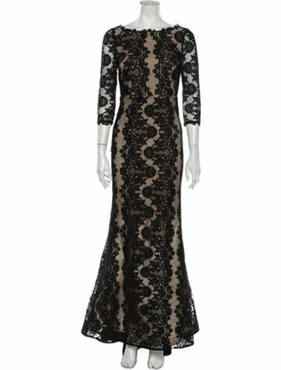 Alice + Olivia Lace Pattern Long Dress Black