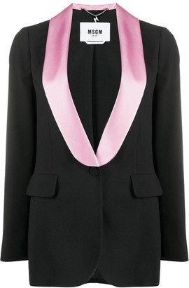 MSGM Contrast-Lapel Single Breasted Blazer