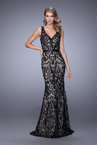 La Femme 21491 V-Neck Baroque Lace Evening Gown