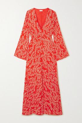 Rixo Sonja Printed Crepe Midi Dress - Tomato red