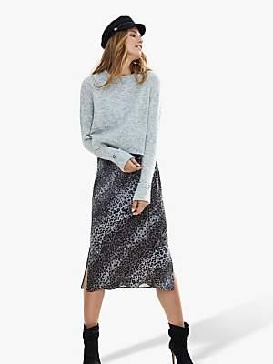Mint Velvet Layered Animal Print Slip Dress, Grey/Multi