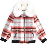 River Island Mini girls red check faux fur collar bomber