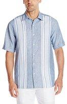 Cubavera Men's Short Sleeve Linen Engineered with Tucking Woven Shirt