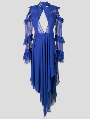 Off-White Ruffled Open-Shoulder Gown