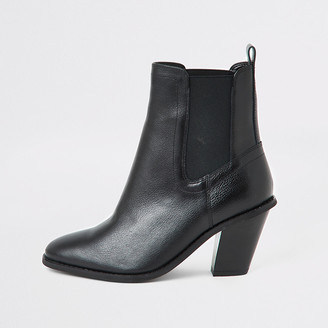River Island Black western high heel wide fit boots