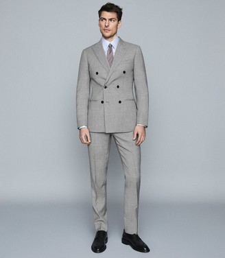 Reiss Villa - Wool Double Breasted Blazer in Soft Grey