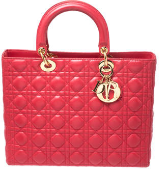 Christian Dior Red Leather Large Lady Tote