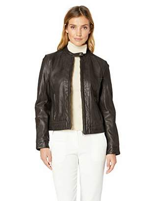 Excelled Women's Leather Moto Collar Scuba