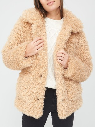 Very Teddy Faux Fur Coat - Camel