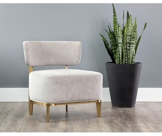 """Everly Quinn Deeter 25"""" Side Chair Upholstery Color: Stone"""