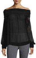 Donna Karan Long-Sleeve Off-the-Shoulder Blouse, Black
