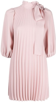 RED Valentino Bow-Embellished Pleated Dress