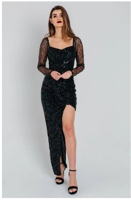 Pretty Darling Iridescent Sequin Asymmetric Sweetheart Ruched Dress