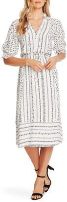 CeCe Ruffle Sleeve Floral Midi Dress