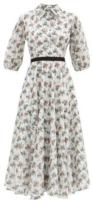 Emilia Wickstead Helen Floral-print Cotton Midi Dress - White Multi