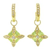 Jude Frances Green Flower Earring Charms with White Sapphires - Yellow Gold