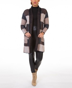 Black Tape Open-Front Eyelash Cardigan With Contrast Trim