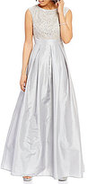 Leslie Fay Extended Shoulder Lace Top Taffeta Skirt Ballgown