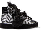 Nicholas Kirkwood Polly Neige shearling-trimmed metallic canvas high-top sneakers