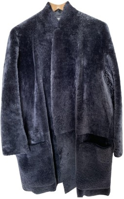Celine Blue Leather Coat for Women