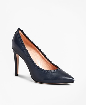 Brooks Brothers Leather Whipstitch Point-Toe Pumps