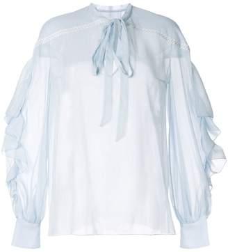 Ingie Paris pussy-bow sheer blouse