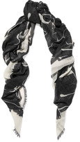 Valentino Panther Printed Cashmere And Silk-blend Scarf - Black