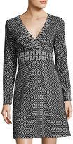 Max Studio Double-Knit Jacquard Dress, Black Pattern