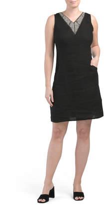 Made In Italy Linen Beaded Shift Dress