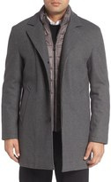 Cole Haan Faux Shearling Lined Waterproof Car Coat with Detachable Bib