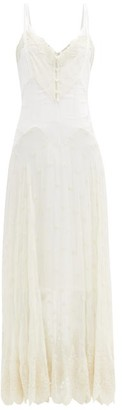 Paco Rabanne Floral-embroidered Silk-chiffon Dress - Ivory