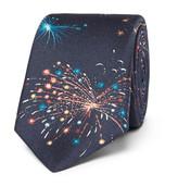 Valentino Firework-print Silk-twill Tie - Navy