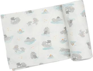 Angel Dear Kid's Grey Hippo Printed Swaddle Blanket
