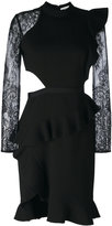 Self-Portrait lace sleeves pleated trim dress - women - Cotton/Polyamide/Polyester/Viscose - 6