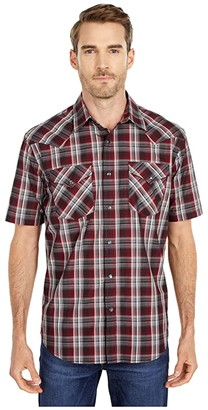 Pendleton Frontier Shirt Short Sleeve (Grey/Rust Plaid) Men's Short Sleeve Button Up