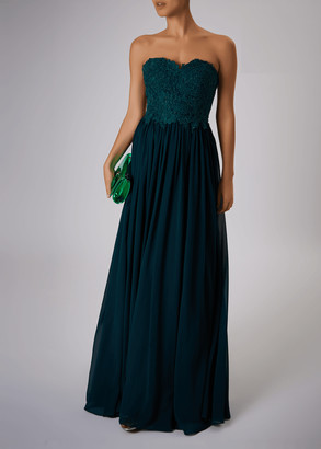 Mascara London Sweetheart Neck Strapless Embroidered Maxi Dress