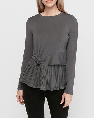 Express Twist Front Double Layer Pleated Top