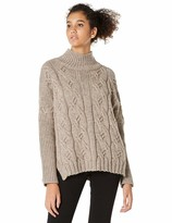 Peplum Pointe Womens Mock Turtleneck Cable Knit Loose Long Sleeve Knit Pullover Causal Chunky Sweater(Brown Free/0-12)