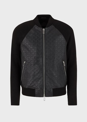 Emporio Armani Bomber In Embossed Lambskin Nappa Leather With Knitted Sleeves