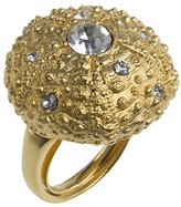 Kenneth Jay Lane Women's Satin Gold Plated Round White Crystals Dome Urchin Ring Size - M
