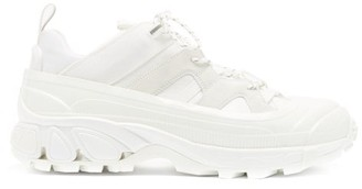 Burberry Arthur Overshoe Ripstop And Suede Trainers - White