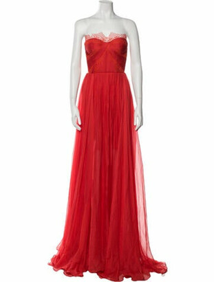 Maria Lucia Hohan Silk Long Dress w/ Tags Red