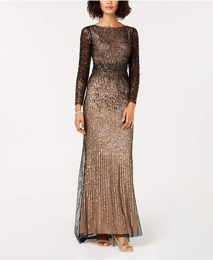 Adrianna Papell Embellished Long-Sleeve Gown